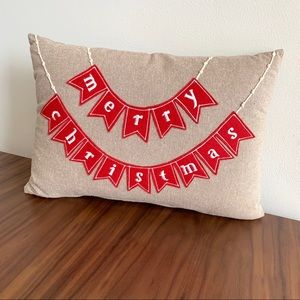 Other - Merry Christmas holiday pillow neutral tan garland